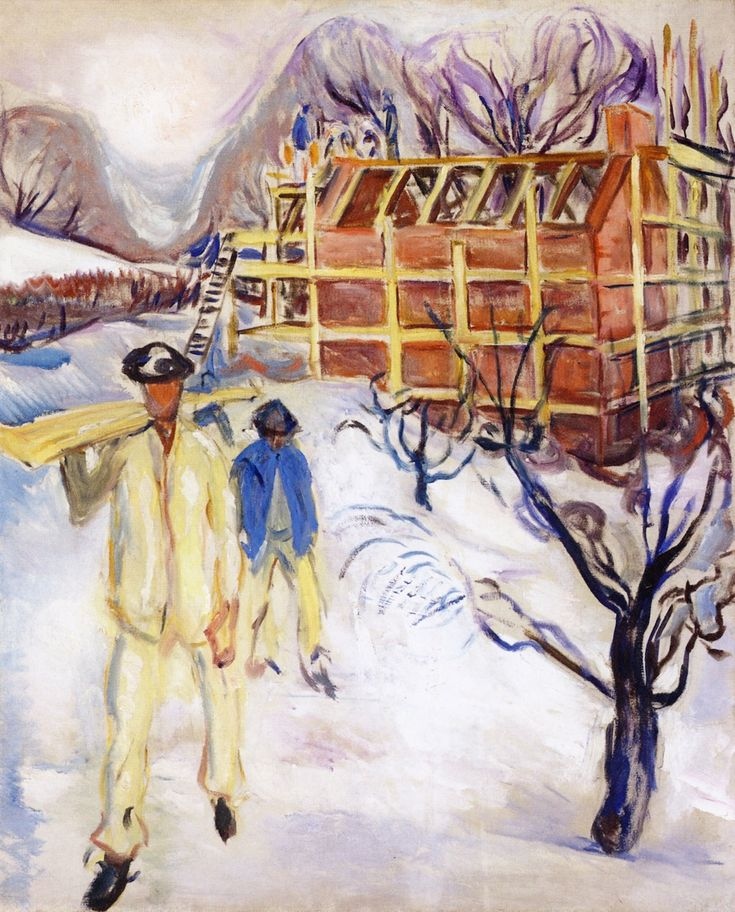 Building Workers in the Snow (Edvard Munch - )