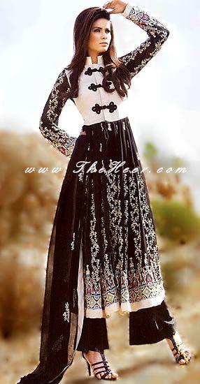 AK6894 Black Crinkle Chiffon Anarkali Style High Fashion Pakistani Dress for High Fashion Pakistani Ladies Anarkali
