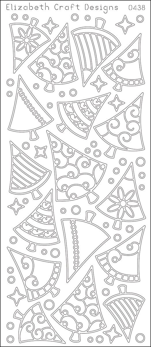 ELIZABETH CRAFT DESIGNS-Peel Off Outline Stickers: Christmas Trees. A great way to customize your craft and art projects! Use Peel Off Stickers on greeting cards, scrapbooking, stationary, candles, gl