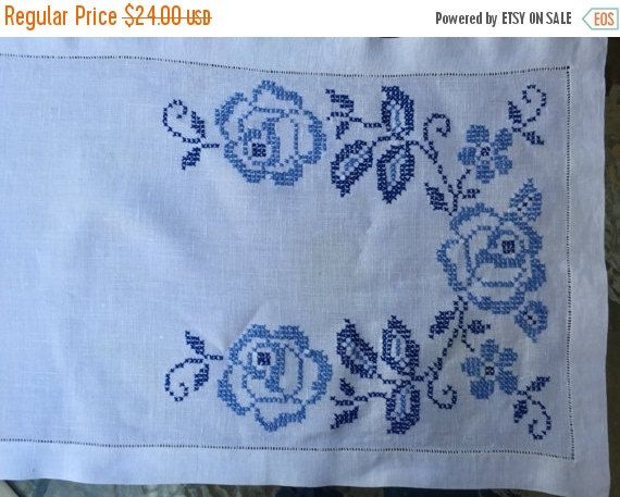 This table runner or dresser runner is gorgeous beyond words! The handwork is exquisite and features Floral Cross Stitch in a beautiful palette of blue. I included a picture of the reverse side to show the obvious skill of the needle artist The varied colors of the blossoms allow it to easily mingle with many colors and types of decor. I think it would be the perfect complement to Blue Danube and Blue Onion dinnerware or Delft Pottery. For those who love Blue and White, this is for you! The…