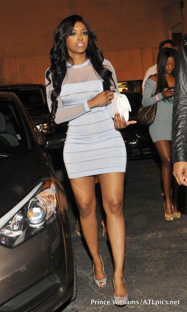 Porsha Stewart's Club Reign Balmain Devore Blue Sheer Mini Dress