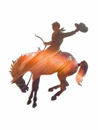 Bucking Horse and Cowboy Metal Wall Sculpture. $79.97 from www.metal-wall-art.com
