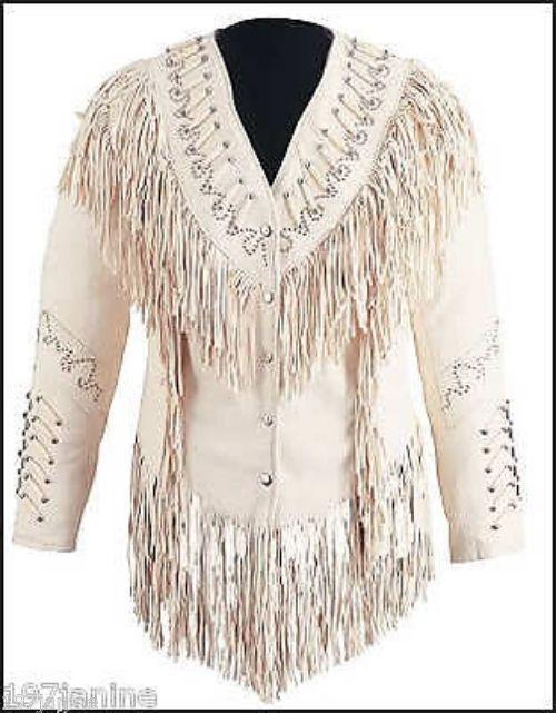 Womens Custom Beaded Fringed Lambskin Western Cowgirl Indian Show Jacket #TreasureTroveTradingPost #Jacket