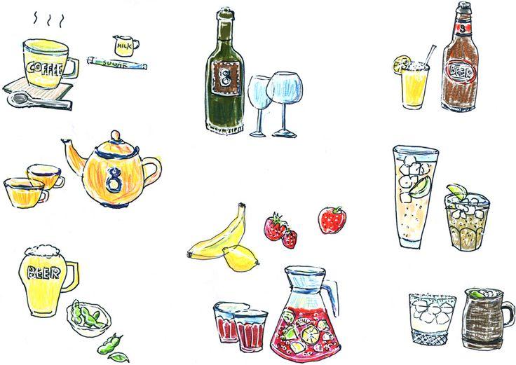 HACHI CAFE|ドリンクメニュー用イラスト作成およびデザイン|by Shimao