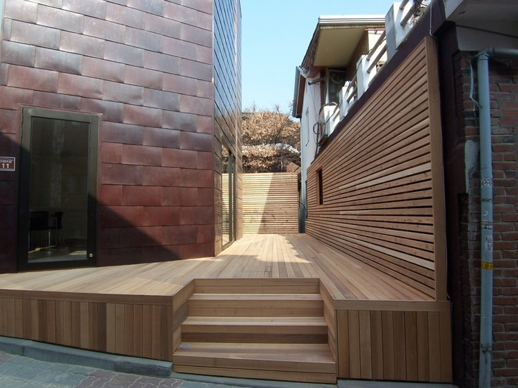 Gallery Exterior--Copper and cedar wood