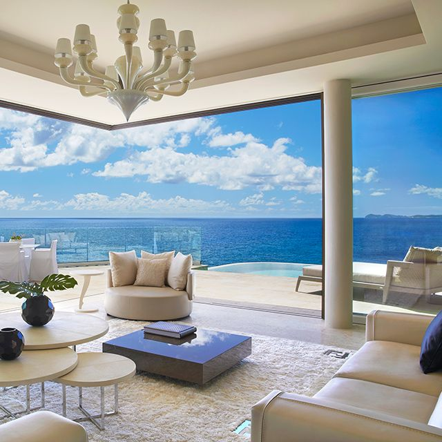 Villa Cliff Penthouse Suite at Oil Nut Bay, Virgin Gorda | FENDI Casa decor and floor to ceiling windows.