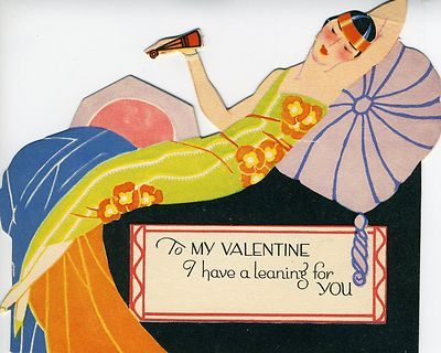 P F Volland Co Art Deco Lady Fan Vintage Valentine Stand Up Greeting Card | eBay