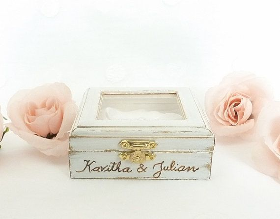 Wedding Ring Pillow Ring Bearer Pillow Box by SayaArtDesign