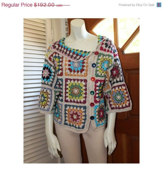 Crochet Top - Size 4-6 - Cotton Granny Square Colorful Design Sweater by Annie Briggs 'Shonda'.