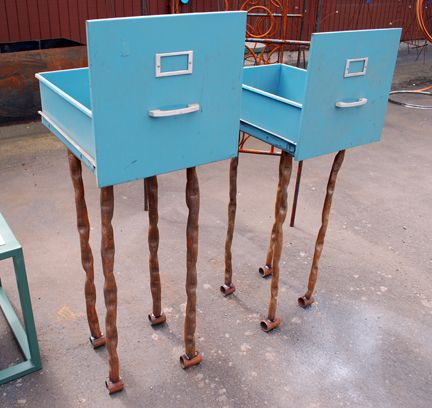 Upcycled File Cabinet Drawers Into Garden Planters   Look Like Little  Creatures On Spindly Legs.