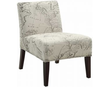 Accent Chair With World Map Fabric Pattern For The