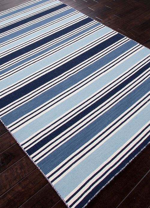 Seaside Blue And Vanilla Striped Wool Rug Blue And White