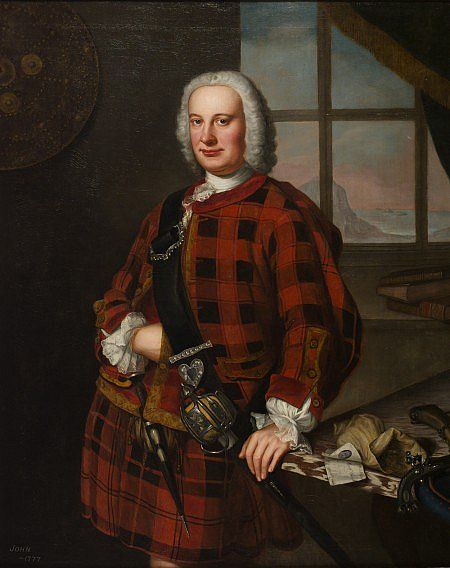 John Campbell of the Bank, (c.1703-1777), 1749, Banker and businessman, by William Mosman. In this portrait, Campbell wears a tartan kilt and jacket, a revealing choice just 2 years after parliament banned the wearing of Highland dress in Scotland. With sword, pistols and dirk, the banker presents himself as a warrior chieftain in the tradition of his ancestors.
