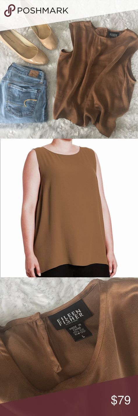 """EILEEN FISHER: Silk Toffee Top EUC Eileen Fisher Silk Sleeveless Top size women's large. Beautiful toffee/taupe color. No trades. Make me a reasonable offer. Measurements: Bust: 44"""" loose fitting Length: 21 Shoulder: 16"""" Material: 100% silk Eileen Fisher Tops Blouses"""