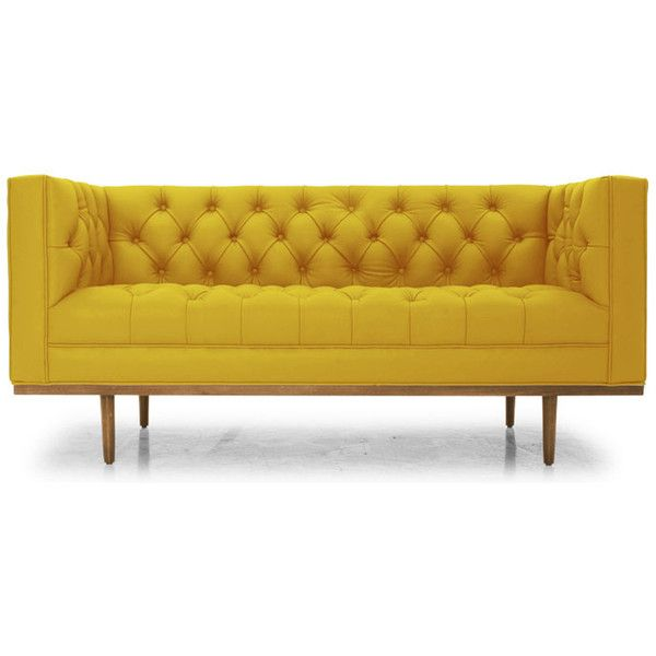 Welles Mid Century Modern Yellow Leather Loveseat (6 385 AUD) ❤ liked on Polyvore featuring home, furniture, sofas, yellow, leather loveseat, leather sofa, mid century leather sofa, tufted sofa and leather love seat