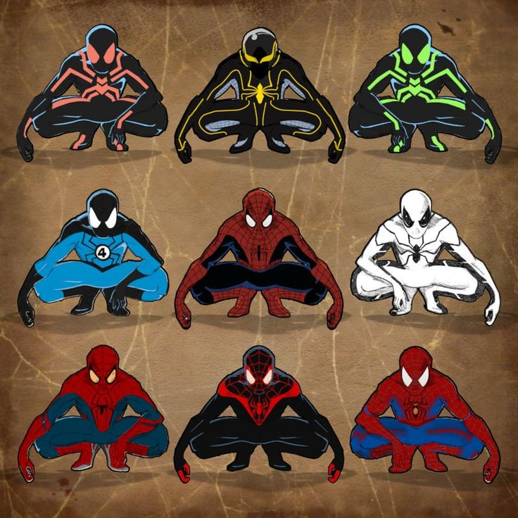 Spider-Men (from left to right starting from the top: big time, new big time, big time in green, fantastic four costume, classic spidey, future foundation, amazing spider man, miles morales, and ultimate spidey