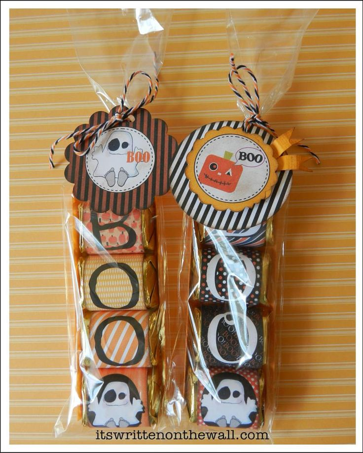 Wrap a chocolate Nugget in Halloween  papers and Spell BOO and EEK. Then Add a tag.  It's Written on the Wall