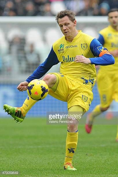 Nicolas Frey of AC Chievo Verona in action during the Serie A match between Juventus and AC Chievo Verona at Juventus Arena on February 16 2014 in...