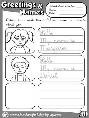 Greetings and Names - Worksheet 5 (B&W version)