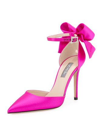 Trance+Satin+Bow+Pump,+Fuchsia+by+SJP+by+Sarah+Jessica+Parker+at+Neiman+Marcus.