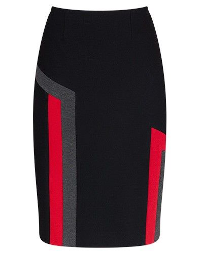 Black and Multi Stretch Ponti Panel Pencil Skirt