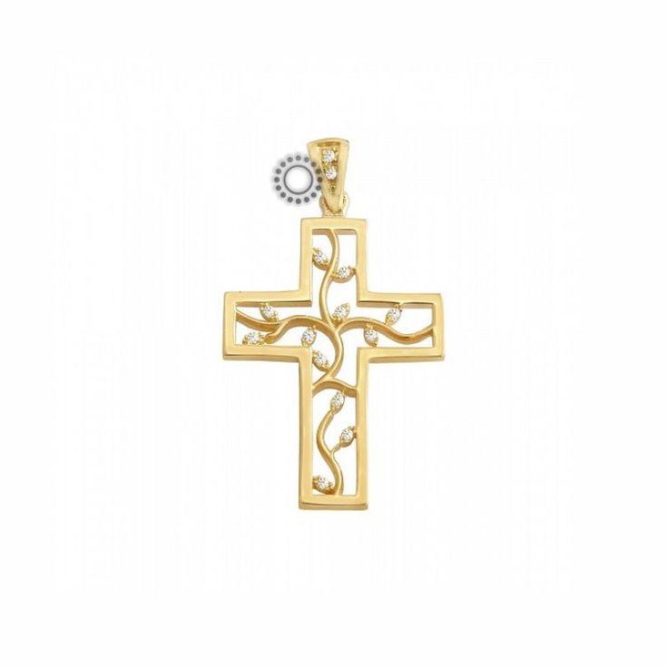 Ένας μοντέρνος βαπτιστικός σταυρός για κορίτσι από χρυσό Κ14 σε κλασικό σχήμα αλλά με ιδιαίτερο εσωτερικό από κλαδιά με ζιργκόν   Σταυροί βάπτισης ΤΣΑΛΔΑΡΗΣ στο Χαλάνδρι #βαπτιστικός #σταυρός #βάπτισης #χρυσός #κορίτσι