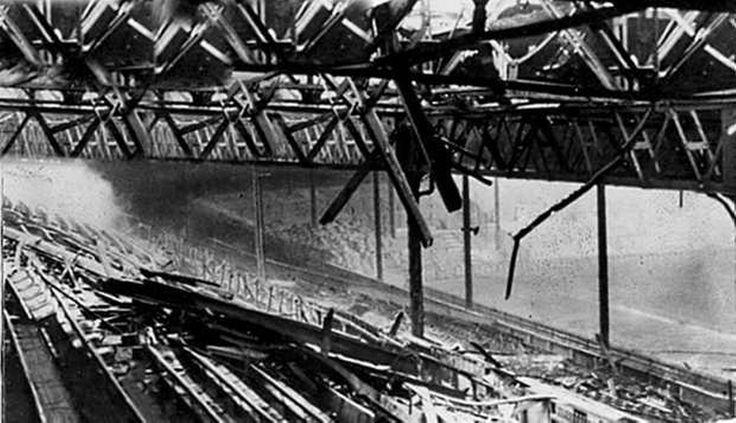 Bomb damage at Old Trafford