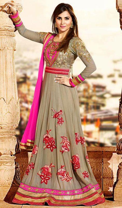 Bollywood Diva Lara Dutta Brown Georgette Floor Length Anarkali Suit Price: Usa Dollar $175, British UK Pound £103, Euro128, Canada CA$188 , Indian Rs9450.