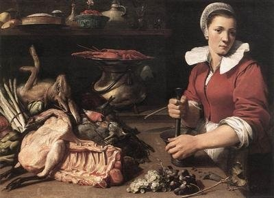 Snyders, Frans (1579-1657)  Cook with food.