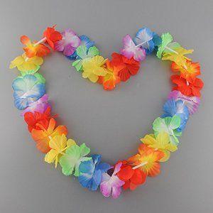 Bon Choix Lot de 10 Colliers De Fleurs Hawaïen Multicolore Accessoire Décoration Fête Beach Party Eté Plage Printemps ambiance tropique…