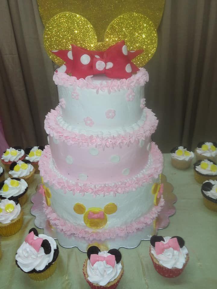 Cake Minnie Mouse buttercream, betún, pastel de Minnie Mouse