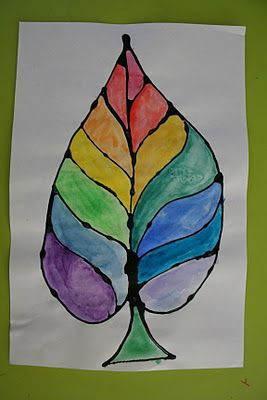 We started by lightly sketching big leaf shapes on white drawing paper with pencil, then outlining the pencil lines with colored Elmer's glue. For directions on how to make your own colored Elmer's glue see our post here about making your own Rainbow Glue.