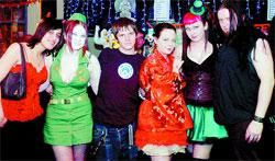 GOTHs GATHER: (From left) Rebecca Waring, Arriane Pickering, Jonathan Preston, Behany Melia, Gemma Walker and Ren Robinson among friends at the special concert in Blackburn's Charles Napier pub in memory of Sophie Lancaster