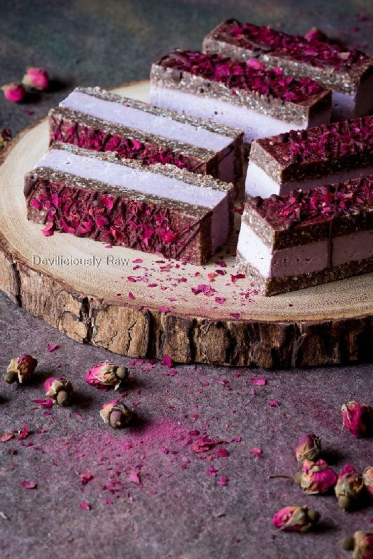 Charming Pink Raspberry Slices - The Ultimate List of 23 Nutritious Raw Vegan Desserts