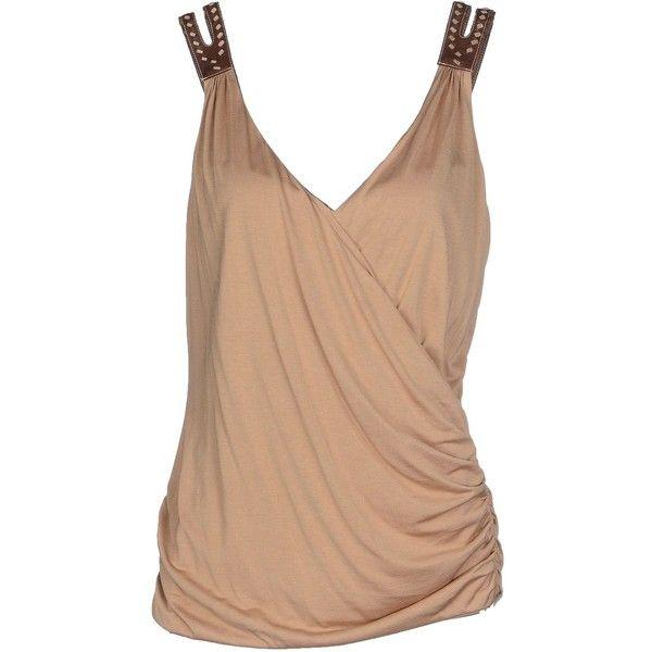 Ralph Lauren Top ($310) ❤ liked on Polyvore featuring tops, camel, beige top, ralph lauren, sleeveless tops and ralph lauren tops