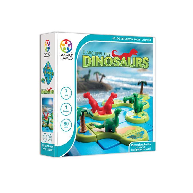 Voici le casse-tête L'archipel des dinosaures, habité par 2 familles de dinosaures. Les dinosaures herbivores, ne peuvent pas vivre sur la même île que les carnivores. Alors pour relever les 60 défis et reconstituer les îles, l'enfant fait appel à son raisonnement logique.