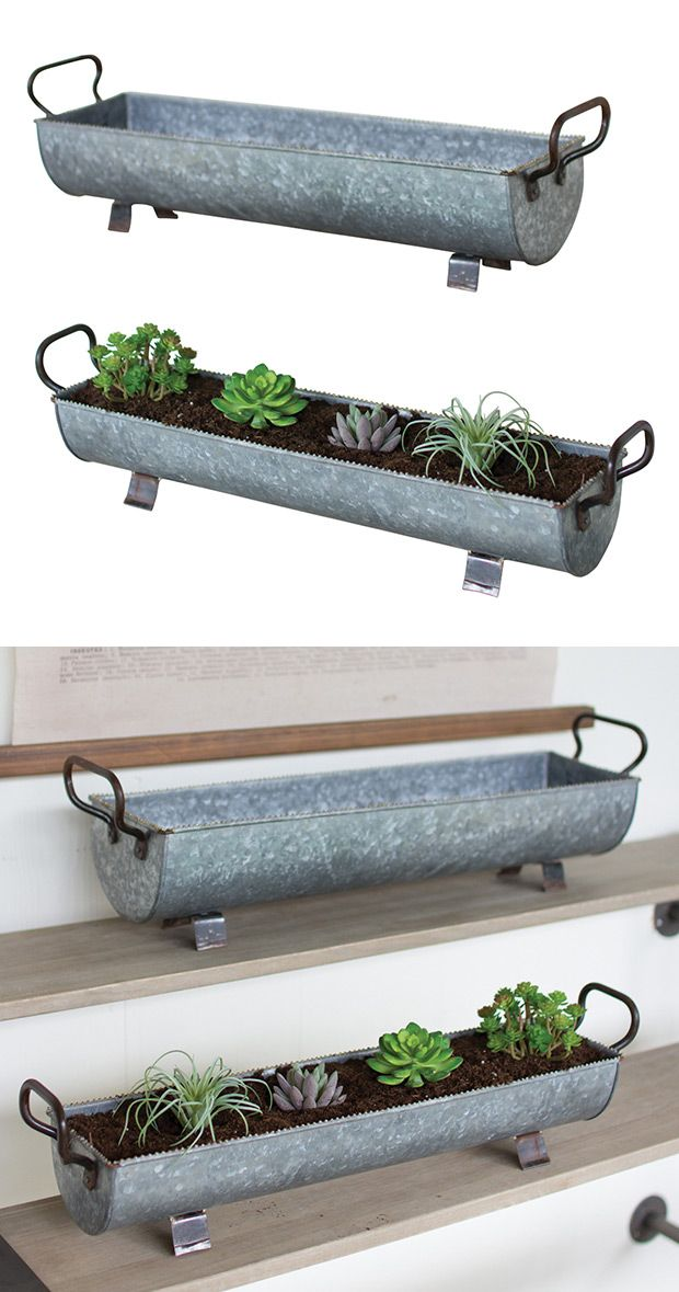 Double your greenery with our Textured Terrace Metal Planters set. These matching oblong planters are designed with a textured zinc finish along with brass handles and feet. Convenient side handles all...  Find the Textured Terrace Metal Planters - Set of 2, as seen in the Rustic Outdoor Living at the Lake  Collection at http://dotandbo.com/collections/rustic-outdoor-living-at-the-lake?utm_source=pinterest&utm_medium=organic&db_sku=118554