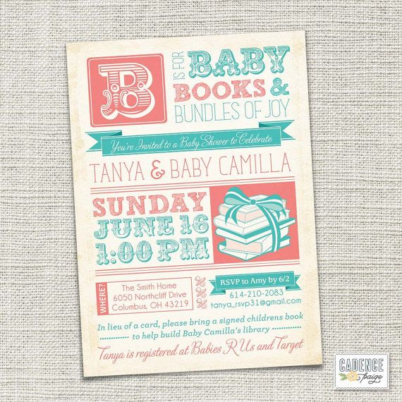 In Lieu Of A Card Bring A Book Baby Shower Part - 30: Book Shower Invitation, Baby Shower Invitation, Vintage Baby Shower  Invitation (PRINTABLE)