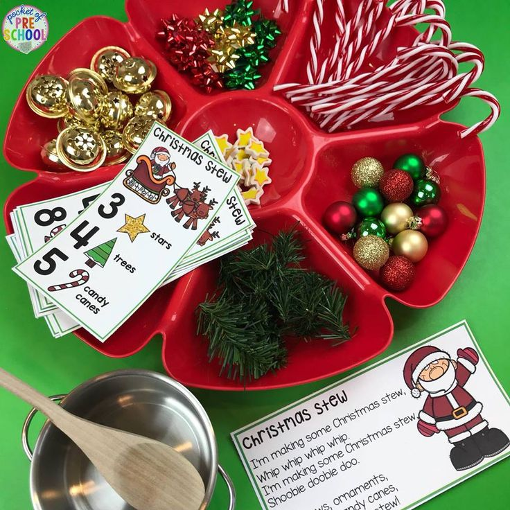 Christmas Stew! Students count out the Christmas manipulatives to create their stew a FUN way to practice counting and identifying numbers. Perfect for a Christmas or holiday theme.