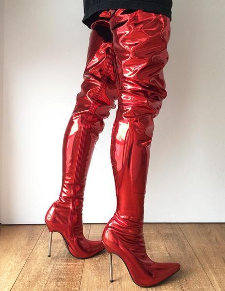 1b8de8449a92 LETHAL 12cm Silver Metal Heel 80cm Crotch Show Boot Metallic Red Fire  Customize