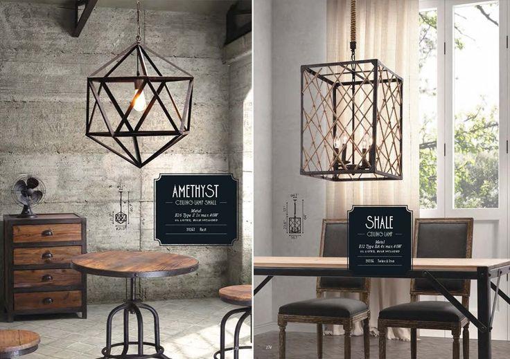 Дизайнерские подвесные светильники в стиле лофт, выполнены из металла в форме многогранника и прямоугольника.