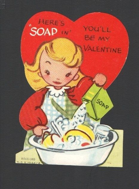 """Vintage Valentines Card  Girl Doing Dishes Old Enamel Wash Tub  """"Here's SOAP In"""""""