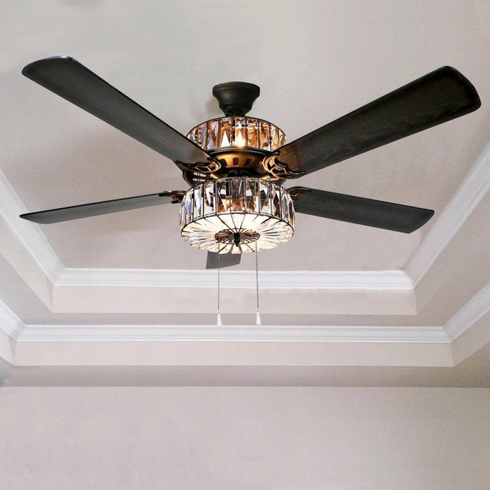Crystal 5 Blade Ceiling Fan With Remote