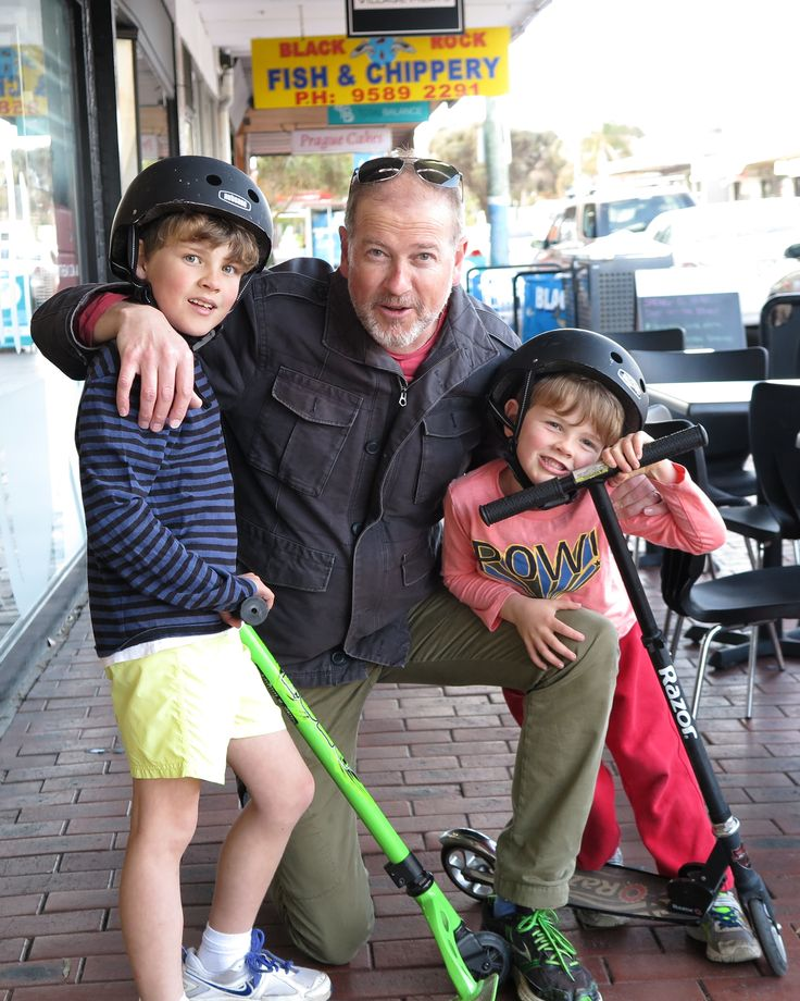 Sandringham: Dave \ communications tom & Will.  What makes you happy?  My kids. When they're happy, I'm happy. Tickling them and getting them to have a laugh and doing this kind of stuff, taking them out for a treat or to the footy. Pretty simple stuff. Photo: Chloe Booker