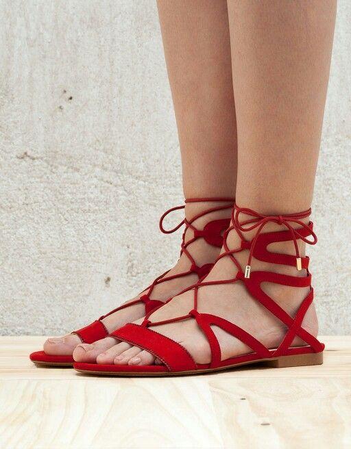Bershka red lace-up flat sandals