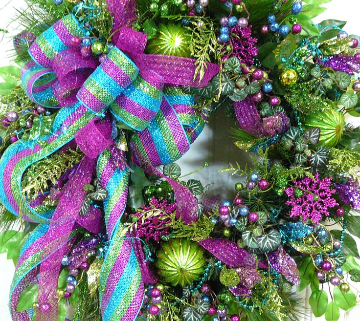 Pink, Blue Christmas Wreath, Door Wreath, Wired Ribbons by LadybugWreaths on Etsy $229.97 ...