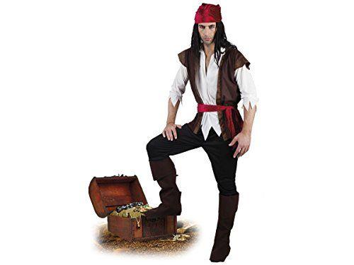 Déguisement d'homme pirate Adulte T-shirt à l'effet chemise, gilet, bandana, pantacourt, ceinture et des sur-bottes Ce costume est parfait…