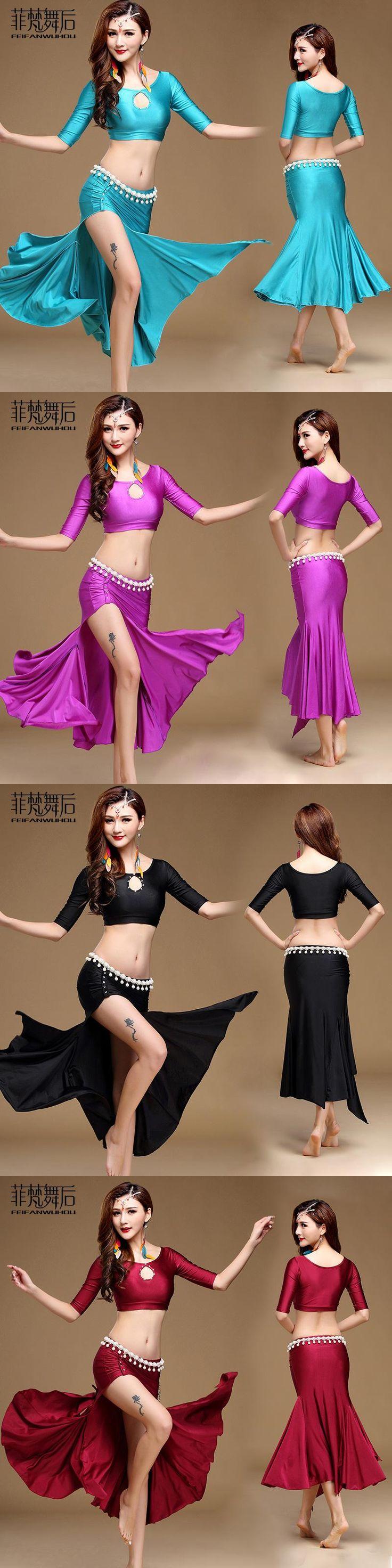 FEIFANWUHOU Belly Dance Set For Women Half Sleeve Crop Top + Side Split Skirt Sexy Belly Dance Gypsy Costume Dancing Clothing