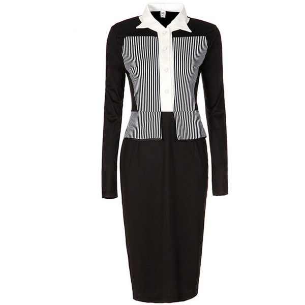 Office Black White Vertical Striped Slit Bodycon Dress ($34) ❤ liked on Polyvore featuring dresses, long formal dresses, bodycon slit dress, long day dresses, body con dress and black and white formal dresses