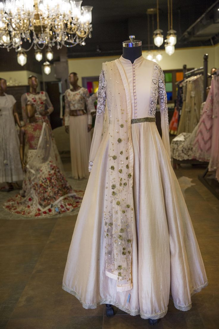 Be At The Top Of Your Wedding Style Game With This Ivory Bandhgala Anarkali By Varun Bahl